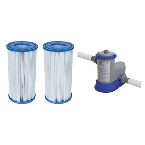 Bestway Pool Filter Pump Cartridge Type-III (2 Pack) + Pool Filter Pump System
