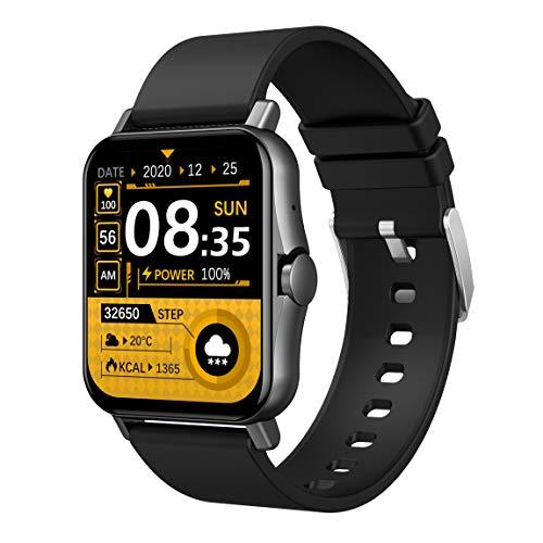TOPRUI Reloj inteligente de 1,69 pulgadas con pantalla táctil y reloj de actividad física, impermeable IP67, pulsómetro, llamada Bluetooth, cronómetro, modo deportivo, notificaciones de mensajes.