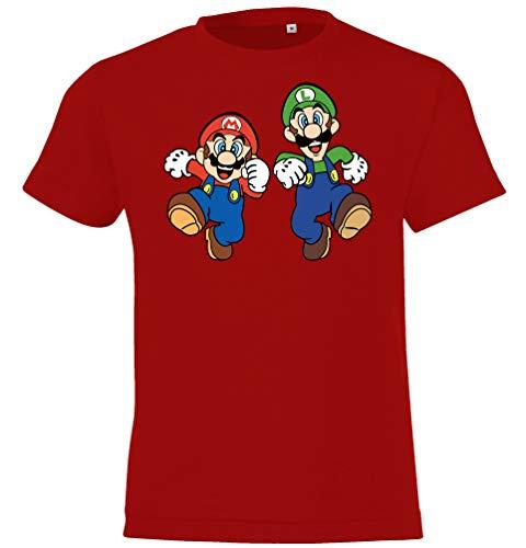 Kinder T-Shirt Modell Mario & Luigi, Gr. 96/104 (4 Jahre), Rot