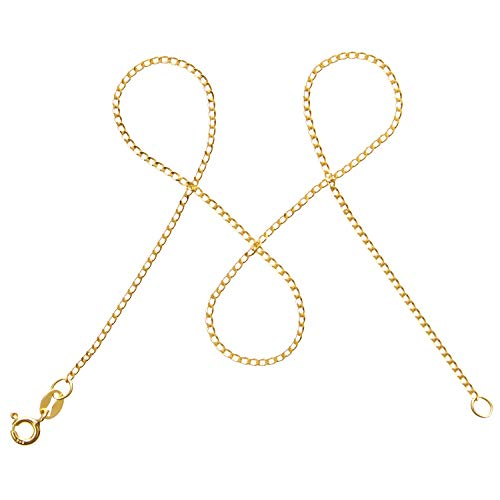 modabilé Panzerkette Damen Halskette Vergoldet aus 925er Silber (45cm I 1,3mm breit) I Silberkette Damen 925 ohne Anhänger I Zarte Goldene Kette für Frauen + Etui I Goldkette Produziert in Europa