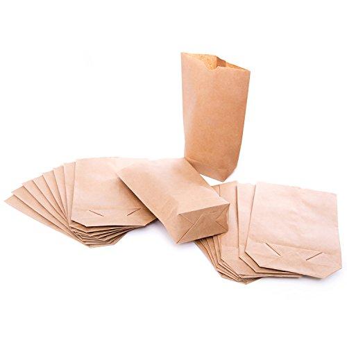 Logbuch-Verlag 25 kleine braune Kraftpapier Tüten Papierbeutel Papiertüten 14 x 22 x 5,5 cm Tüten Boden Geschenktüte Kreuzbodenbeutel Obstbeutel Verpackung natur bio