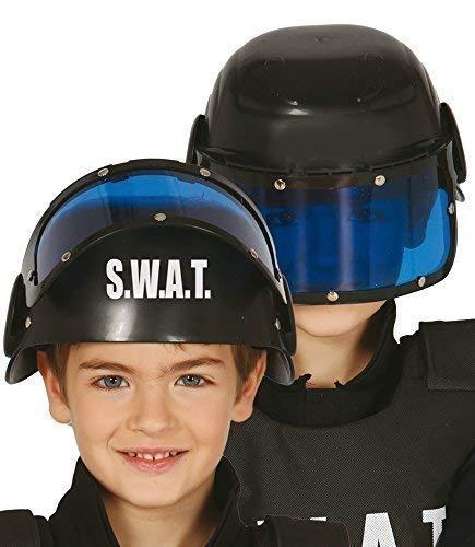 Fancy Me Garçon Fille Police Swat Chapeau Casque avec Visière Uniforme Costume Déguisement Accessoire