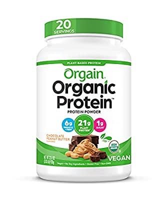 Orgain Peanut Butter Protein Powder and Chocolate