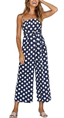 Yayu - Pantalón Largo para Mujer, sin Tirantes, con Estampado de Lunares, una Pieza, piernas Anchas, Azul Marino, M