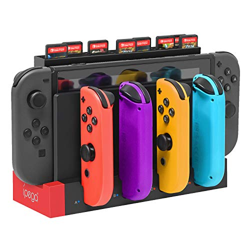 FYOUNG Charger for Joy Cons Controller, Charging Dock Base Station for Joy Cons and Game Card Storage Holder with 28 Game Card Slots Accessories Kits for Nintendo Switch
