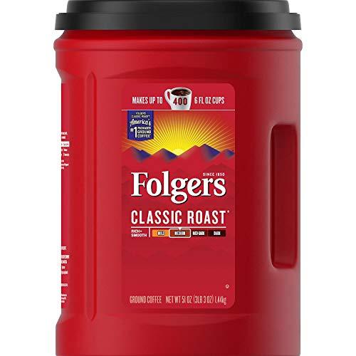 Folgers Classic Roast Medium Ground Coffee 1.44kg Tub Makes up to 400 6 fl oz Cups