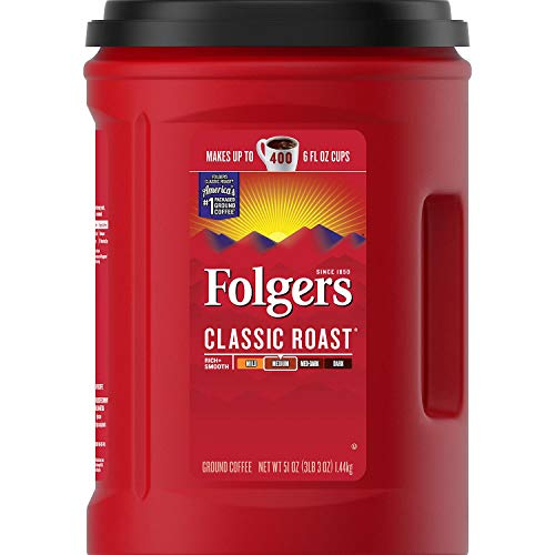 Folgers Classic Roast Medium Ground Coffee 1.44kg Tub Makes up to 400 6 fl oz Cups - Pack of 1