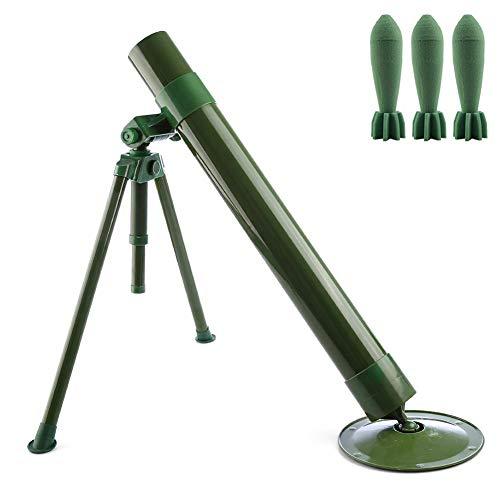 QZY Niños Kit De Juguetes Tácticos, 60Mm Calibre Mortero Táctico con Lanzamiento De Misiles De Seguridad Esponja, Juguetes De Tiro Interesante-Verde 23 Pulgadas