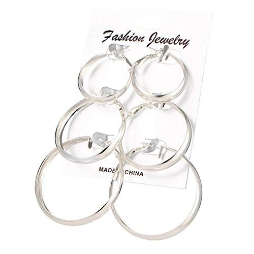 Wonderful Day Pendientes de aro extragrandes Set Pendientes para Mujer de círculo Redondo de Color Dorado, EJ62025