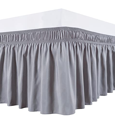 Biscaynebay Wrap Around Bed Skirts for Queen Beds 15 Inches Drop, Silver Grey Elastic Dust Ruffles Easy Fit Wrinkle & Fade Resistant Silky Luxurious Fabric Solid Machine Washable