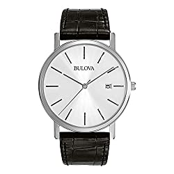 Bulova Classic Quartz Mens Watch, Stainless Steel with Black Leather Strap, Silver-Tone (Model: 96B104)
