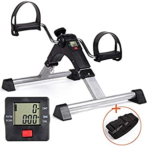 DECELI Under Desk Bike Pedal Exerciser-Folding Portable Exercise Peddler with Electronic Display for Legs and Arms Workout?Black?