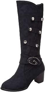 Women's Fashion Comfy Vegan Block Heel Bootie Side Zipper High Heel Boots Scrub Boot