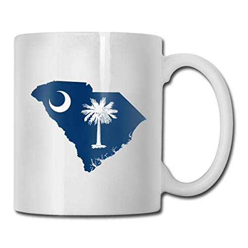 Taza con bandera de mapa de Carolina del Sur, taza de café para bebidas calientes, taza de gres, taza de café de cerámica, taza de té de 11 onzas, divertida taza de regalo para té y café