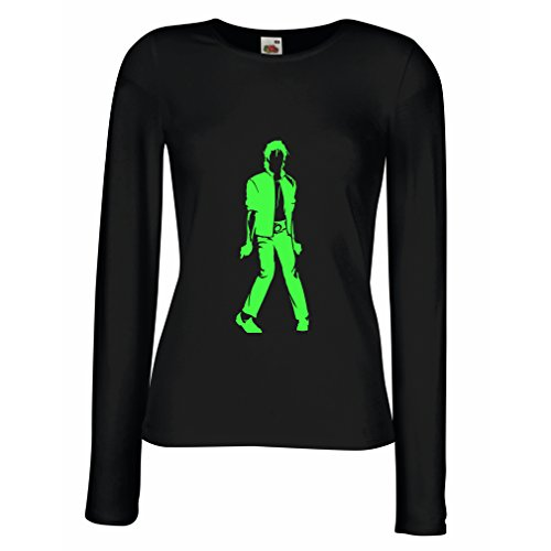 lepni.me Camisetas de Manga Larga para Mujer Me Encanta M J - Rey del Pop, 80s, 90s Músicamente Camisa, Ropa de Fiesta (X-Large Negro Verde)