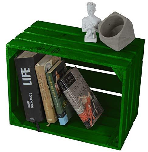 LAUBLUST Große Vintage Holzkiste - 40x30x25cm, Grün Lackiert, Unbenutzt   Möbel-Kiste   Wein-Kiste   Obst-Kiste   Apfel-Kiste   Deko-Kiste aus Holz