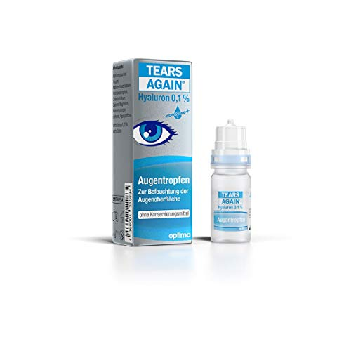 TEARS AGAIN Hyaluron 0,1% Augentropfen zur Befeuchtung der Augenoberfläche, ohne Konservierungsmittel, 10 ml Lösung