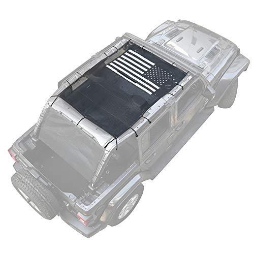 Savadicar Mesh Shade Top Full Length Sunshade Screen for 2018-2021 Jeep Wrangler JL JLU, USA Flag Sun Shade Cover Provides UV Protection, Durable Polyester, Black