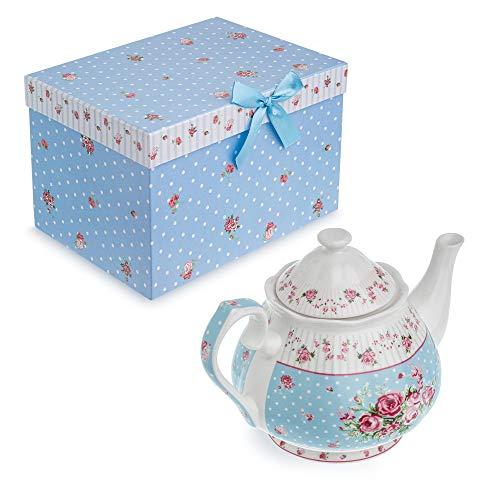 London Boutique - Set di teiera in porcellana, con zuccheriera e lattiera color crema, stile shabby chic, vintage, con motivo floreale, in confezione regalo (teiera rosa blu)