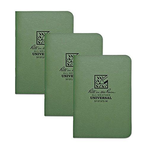 Rite in the Rain Weatherproof Mini-Stapled Notebook, 3 1/4' x 4 5/8', Green Cover, Universal Pattern, 3 Pack (No. 971FX-M), 4.625 x 3.5 x 0.125