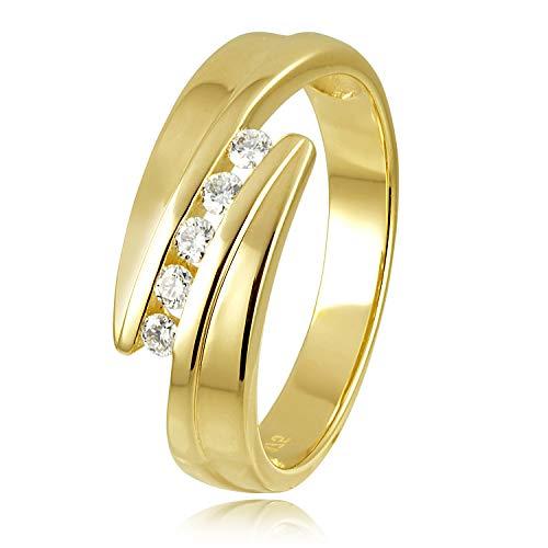 Diamond Line Diamant-Ring Damen Gold mit 5 Brillianten, Diamantring Lupenrein