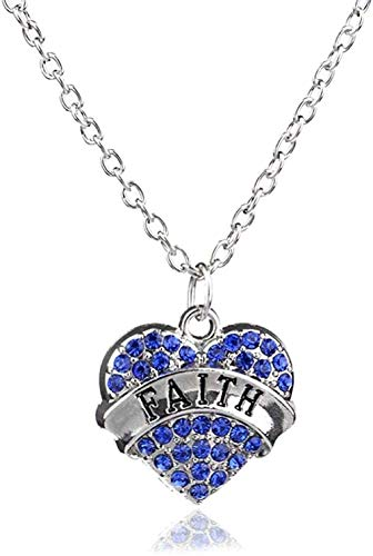 ZHIFUBA Co.,Ltd Collar Cristal Brillante Corazón de fe Collar con Colgante Cadena Plateada Diamante de imitación Joyería Familiar Collares Pendientes