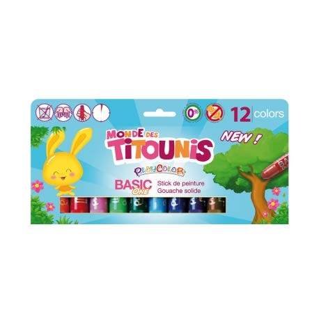 Malstifte Gouache, solide 10 g, Titounis – Basic One – 12 verschiedene Farben – 20421