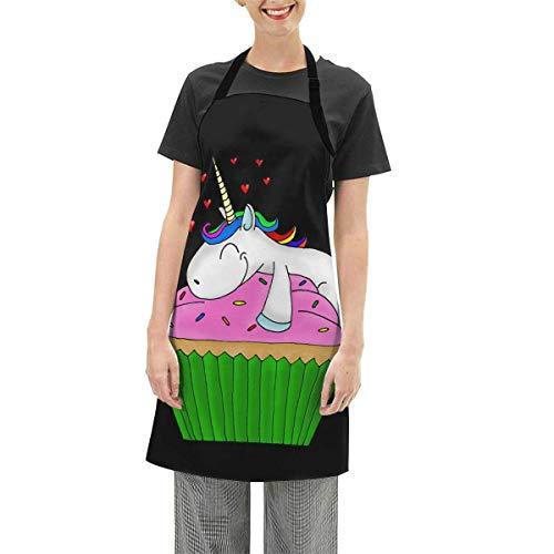 N\A Delantal con Babero Ajustable de Unicornio de Cupcake, Delantales de Cocina Impermeables para cocinar para Mujeres, Hombres, Chef