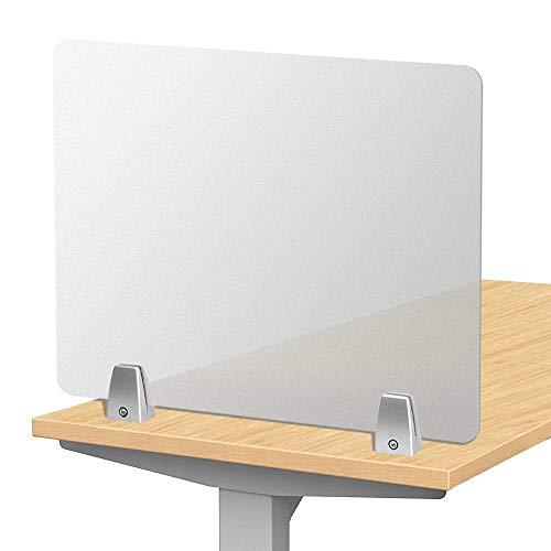 Creechwa Kontor skiljevägg, frostad skrivbordsdelare, skyddsskärm för skrivbord, sekretesspanel, skrivbordsskyddsskärm för samtalscenter, bibliotek, klassrum (utan klämma, 50 x 40)