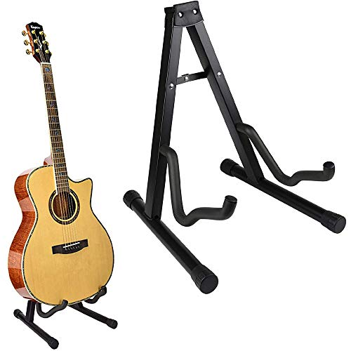 Soporte de guitarra plegable universal con marco plegable, soporte de guitarra acústica de tamaño completo, adecuado para guitarra acústica, clásica, guitarra de viaje, bajo eléctrico clásico.