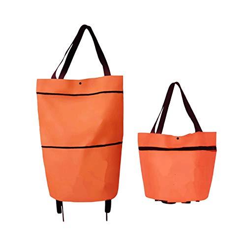 OTOOL Bolsa De Asas Plegable para Carrito De Compras - 2 En 1 Carrito De Compras Plegable Bolsa De Asas para Carrito De Compras Plegable Portátil 46 * 41 * 13,5 cm/Naranja