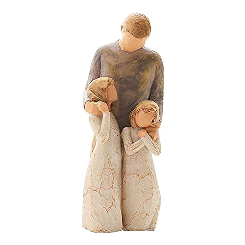 Harz Nordic Style Familienmitglied Ornamente, Vater und zwei Töchter Kunstskulptur Handgemalte Familie Happy Time Fingure, Home Decoration Statuen für Schlafzimmer Büro Desktop Arrangement Geschenk