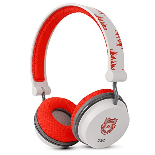 boAt Rockerz 400 Kings XI Punjab Edition Bluetooth Headphone with Super Extra Bass, Up to 8H Playtime, Dual Connectivity Modes, Foldable Earcups and Lightweight Design (Red)