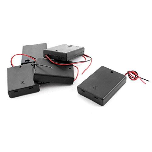 sourcingmap 5pcs Couvercle Plastique Noir Rouge 2 Fil mener boîte Support Boîte 4xpiles AAA