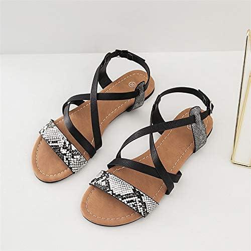MENGLTX MENGLTX MENGLTX High Heels Sandalen Frauen Wohnungen Sommer Vintage Schlangenhaut Sandalen Weißliche Schuhe Mode Freizeitschuhe Frau Rom Stil Sandalen  Großhandelsgeschäft