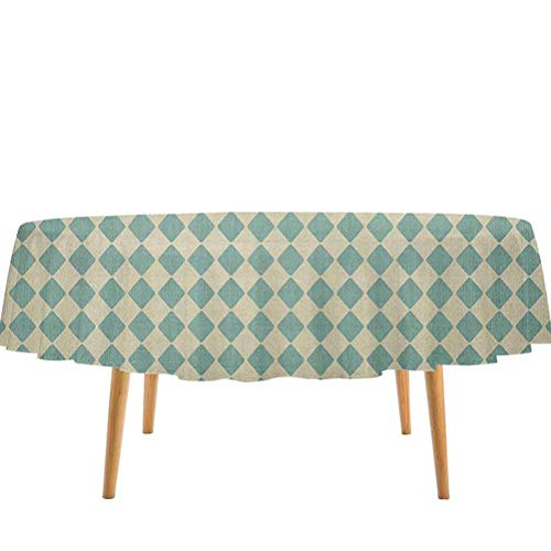 prunushome Geometric Tablecloth Rhombus Pattern with Retro Design Inspirations Vintage Argyle Arrangement for Kitchen Dinning Tabletop Decoration Teal and Beige (70' Round)