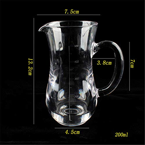 JNML PC Acrylique jus de fruits Cocotte Distributeur de vin rouge en plastique transparent Théière Verre de lait Bouilloire pour café Tasse de mesure Measuring 200ml
