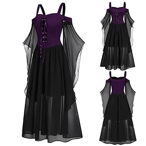 Aobliss Womne Vestido medieval fro con mangas de mariposa con cordones para Halloween vestido gtico, prpura, XL