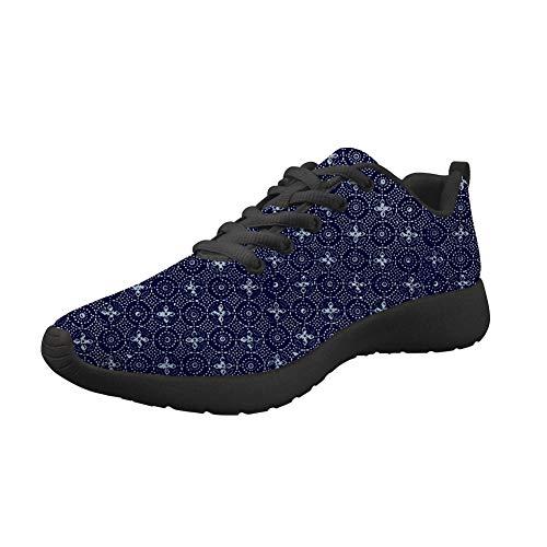 Amzbeauty Zapatillas deportivas de malla para correr para mujer con ajuste ligero, brillante, para deportes al aire libre, transpirable, estampado de flores 2-8UK, color Azul, talla 41 EU