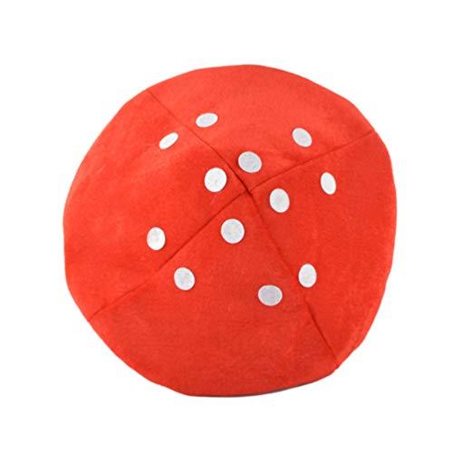 Tomaibaby Sombrero de Traje de Hongo Sombrero de Traje de Felpa para Niños Suministros de Fiesta de Hongos Accesorio de Cosplay (Blanco Y Rojo)