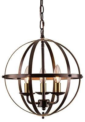 MO&OK Industrial Globe Chandeliers Bronze Metal Chandelier Lighting with 3 Light