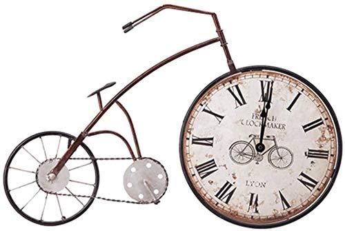 Pkfinrd Sgsg Amerikaanse retro sfeer wandklok fiets muur opknoping creatieve home clock sieraden wanddecoratie kinderen volwassen casual decoraties geschenken, Blauw