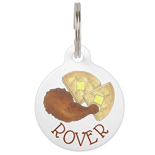 onepicebest Personalized Pet Tags for Dogs and Cats,Custom Pet ID Tags, Classic Soul Food Fried Chicken and Waffles Diner Pet ID Tag Pet Gifts - Round Stainless Steel
