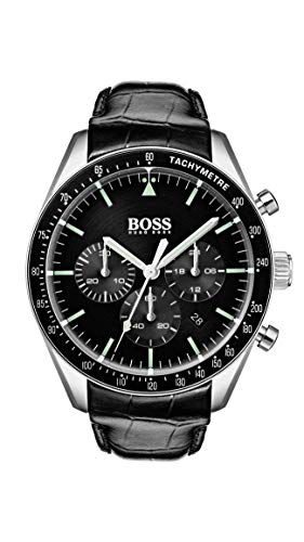 Hugo Boss Heren Chronograaf Quartz Horloge met Lederen Band 1513625