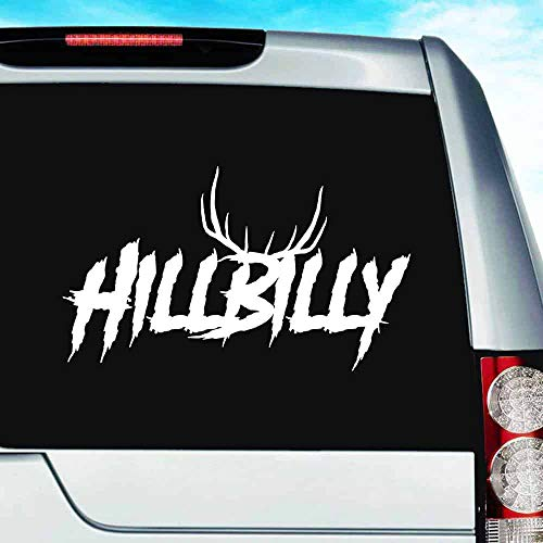 Hillbilly Deer Hunting Antlers Vinyl Decal Sticker Bumper Cling for Car Truck Window Laptop MacBook Wall Cooler Tumbler | Die-Cut/No Background | Multi Sizes/Colors, 20-inch, White