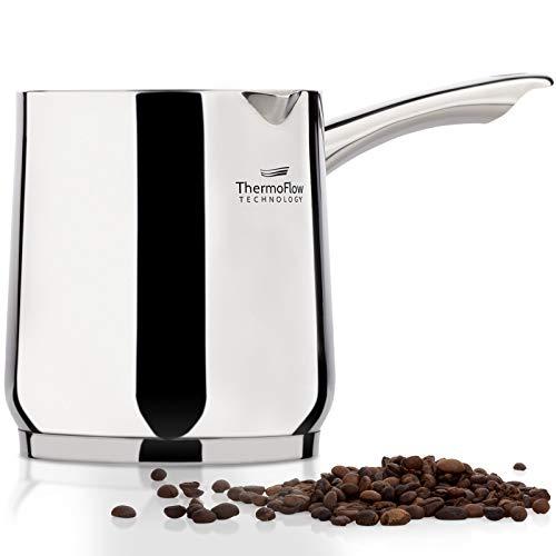 ROSMARINO Edelstahl-Induktions-Mokka-Kanne 900 ml - Moderne Türkische Cezve-Kaffeekanne mit 3-lagigem Stahlboden (900 ml)