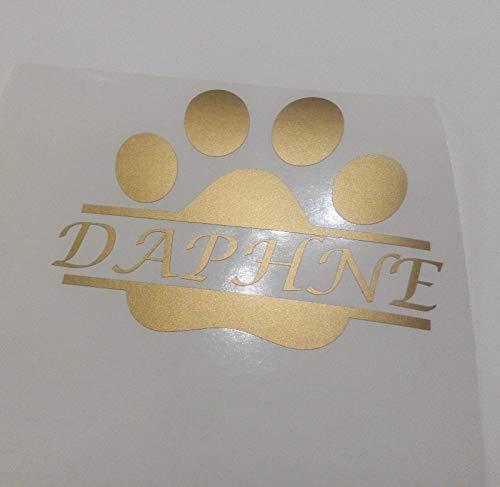 Muurkunst Aangepaste Split poot Decal, Gepersonaliseerde hond poot met naam auto Sticker, Aangepaste hond naam Sticker, Gold Decal, Vinyl Decals, MacBook Decal gemakkelijk aan te brengen