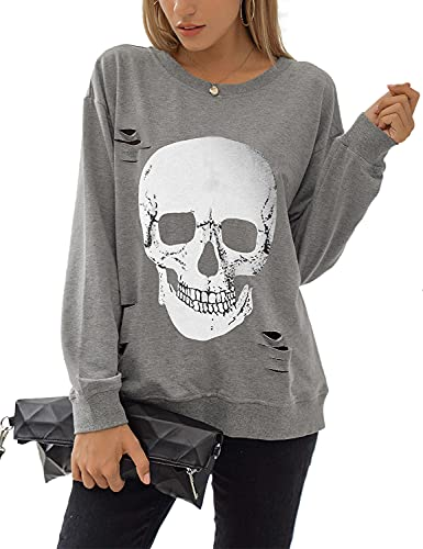 Blooming Jelly Women's Crewneck Sweatshirt Skull Graphic T Shirts Long Sleeve Top Pullover Oversized Sweaters(Medium,Grey)