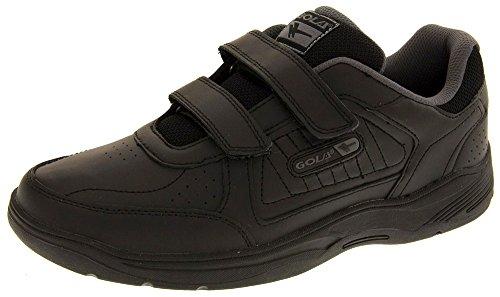 Gola Ama202 Belmont Hombre Zapatillas De Deporte Cuero Real Calzado Zapatos Anchos Velcro Negro EU 45