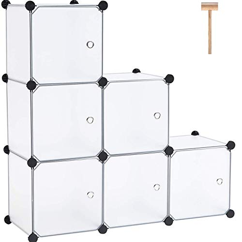 "C&AHOME Cube Storage with Doors, 6-Cube Storage Organizer, Plastic Closet Cabinet, Modular Book Shelving Units, Storage Shelf, Ideal for Home, Office, 36.6""L x 12.4""W x 36.6""H Translucent White"